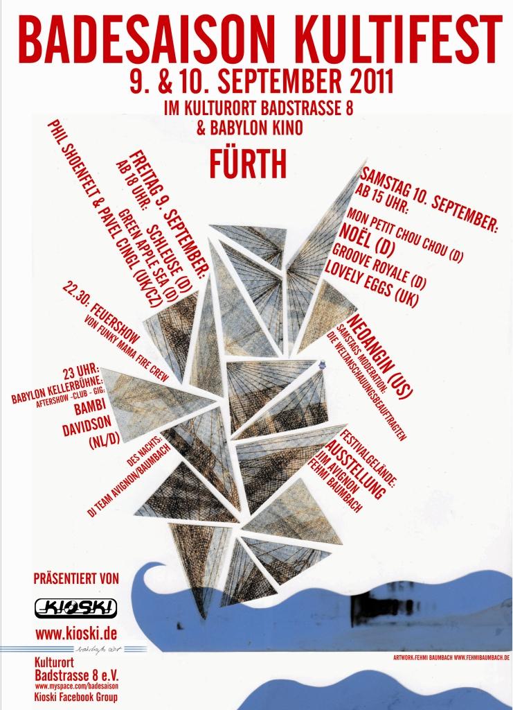 Flyer Badesaison Kultifest 2011 Vorderseite