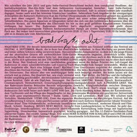 Flyer Badesaison Kultifest 2015 Rückseite