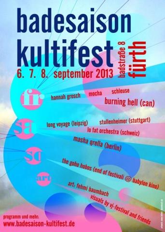 Flyer Badesaison Kultifest 2013 Vorderseite
