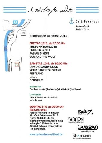 Flyer Badesaison Kultifest 2014 Rückseite